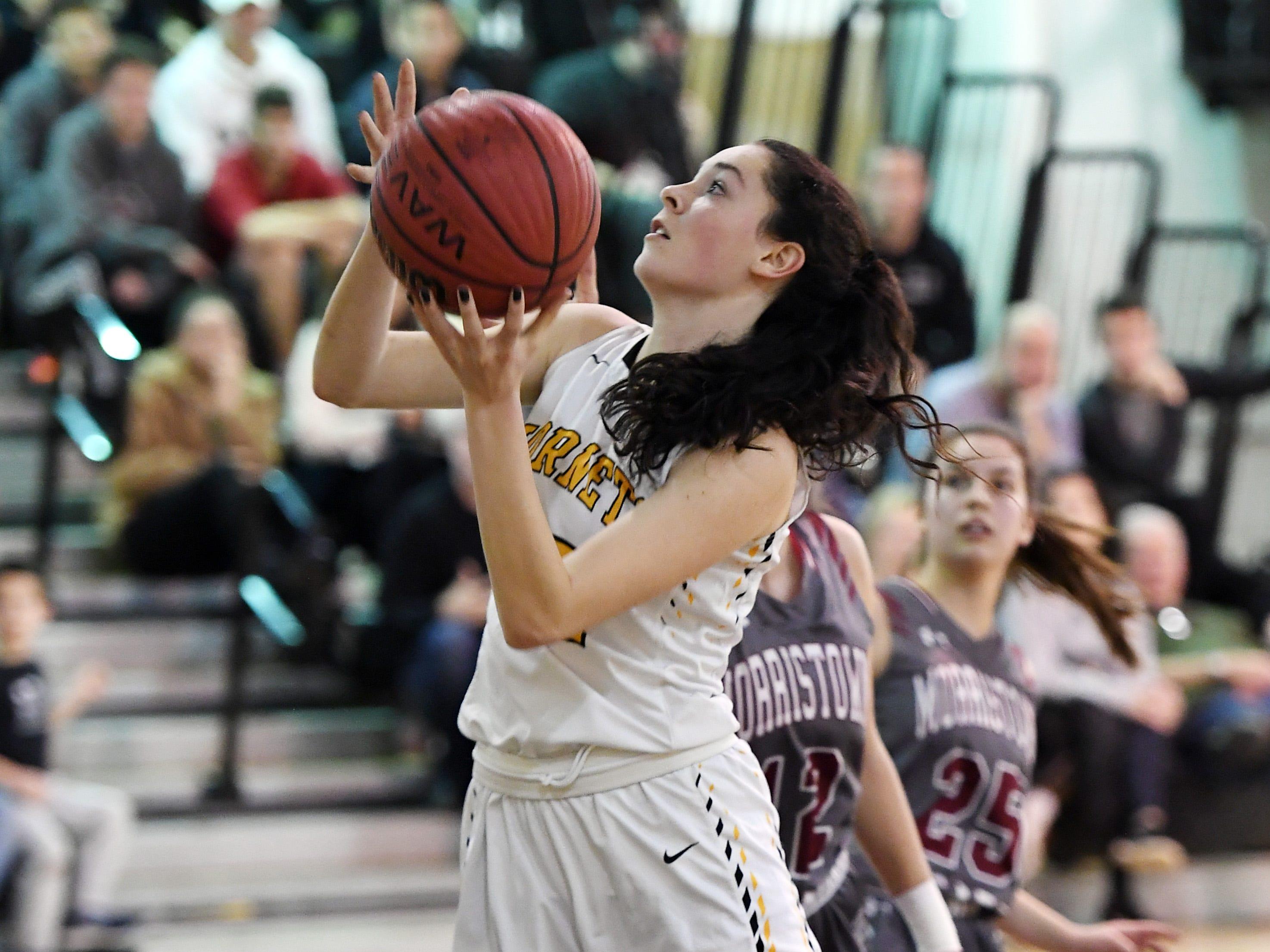 Morristown-Beard girls basketball at Hanover Park on Friday, January 4, 2019. HP #32 Meghan Macaluso drives to the basket.