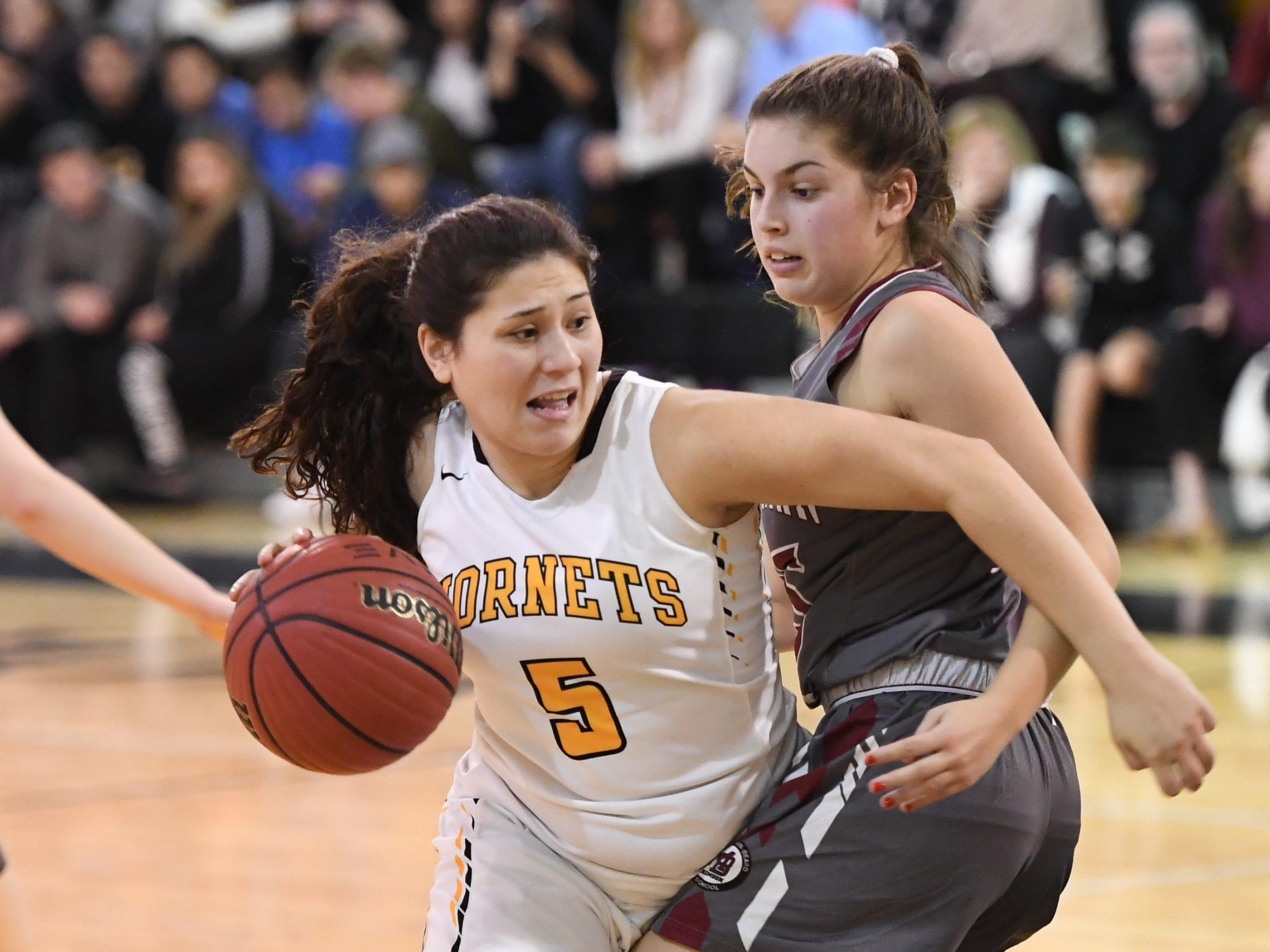 Morristown-Beard girls basketball at Hanover Park on Friday, January 4, 2019. HP #5 Olivia Cosenzo tries to get past MB #25 Christina De Mattheis .