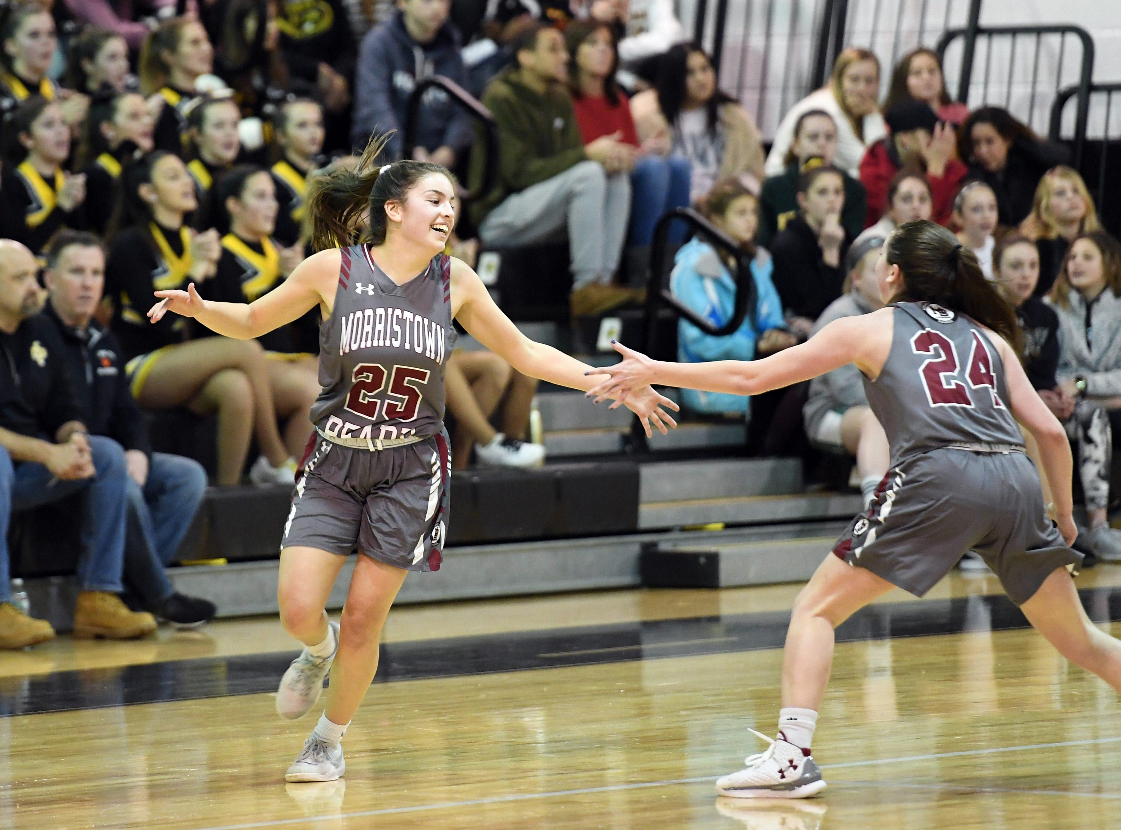 Morristown-Beard girls basketball at Hanover Park on Friday, January 4, 2019. MB #25 Christina De Mattheis celebrates after scoring in the second quarter.