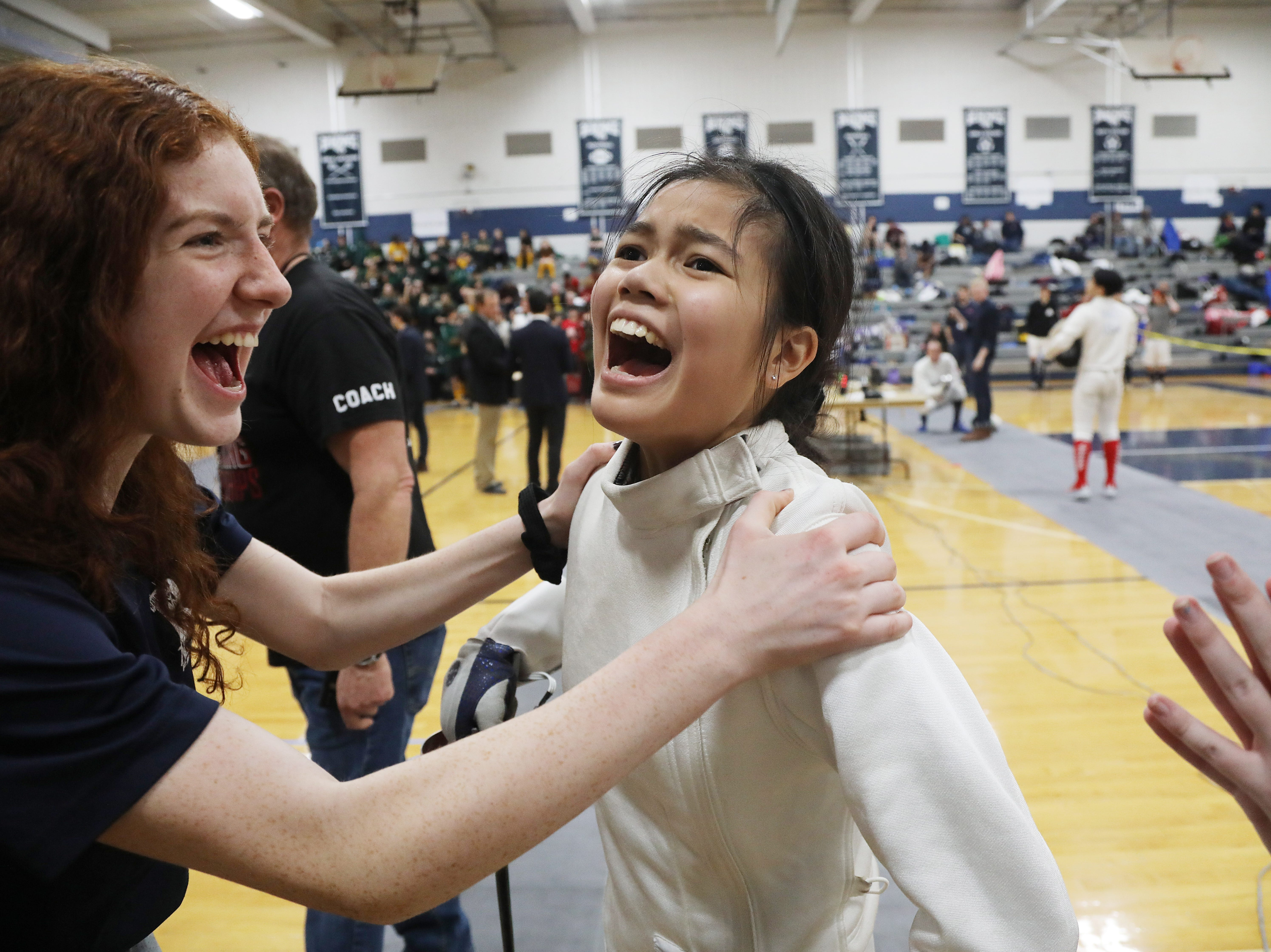 Alison Cordero of Randolph after she won a round in the epee final.