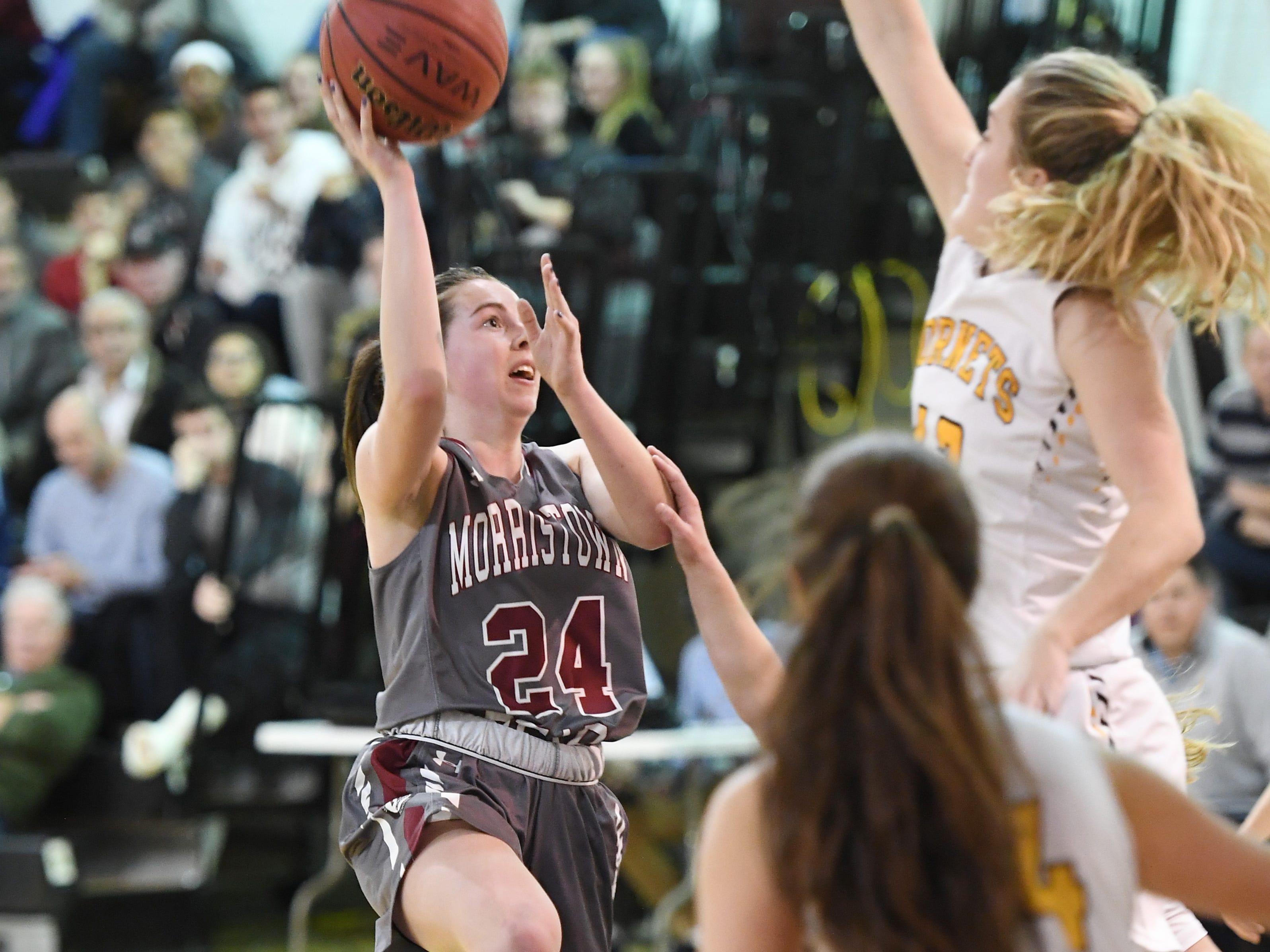 Morristown-Beard girls basketball at Hanover Park on Friday, January 4, 2019. MB #24 Bridget Monaghan drives to the basket.