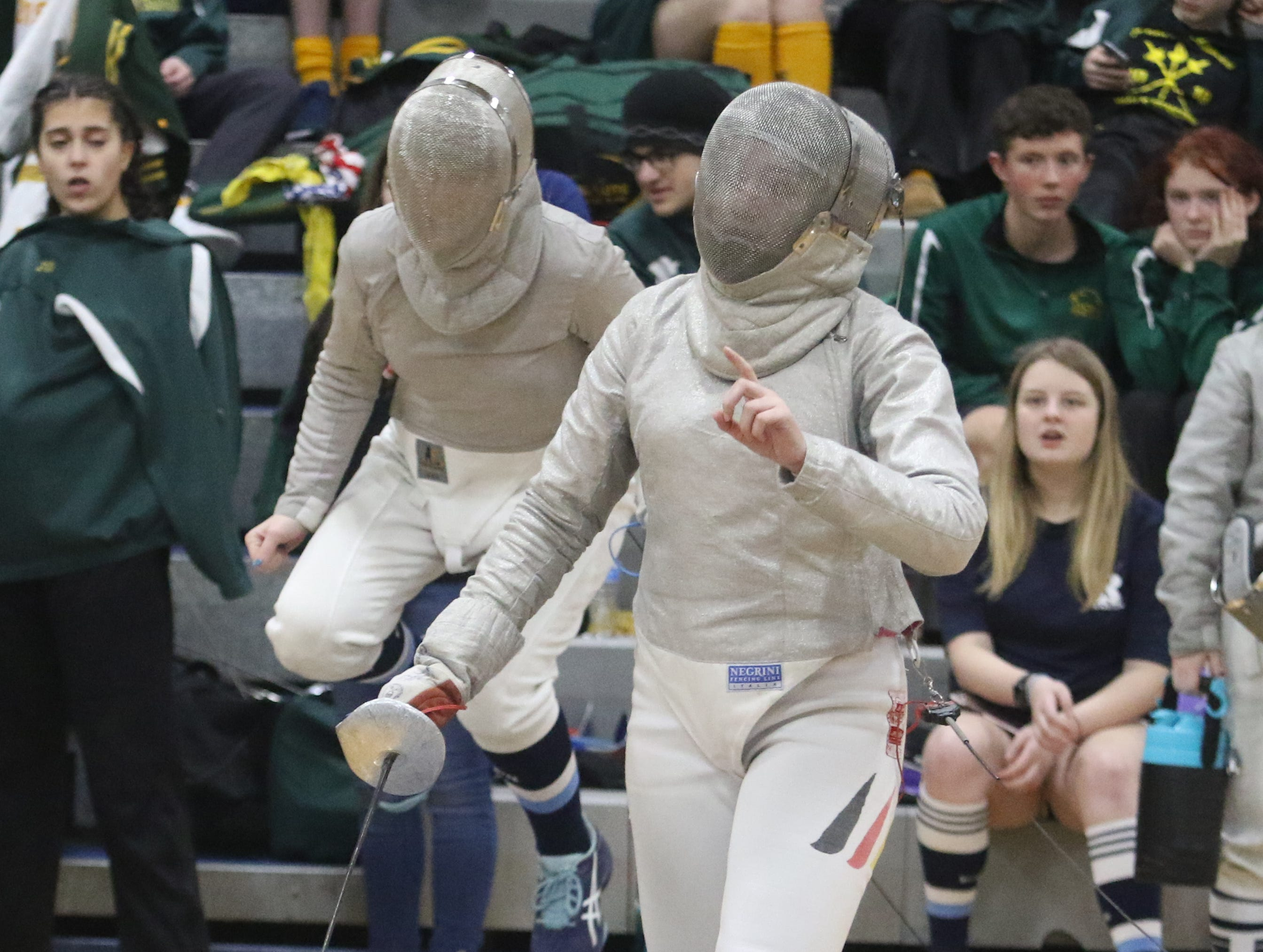 Julia Yellen of Randolph and Vivien Buchmann of Kinnelon as they competed in the saber final.