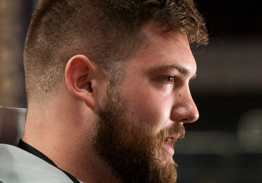 Alabama offensive lineman Jonah Williams (73)  during the Alabama Media Day at the SAP Center in San Jose, Ca., on Saturday January 5, 2019.