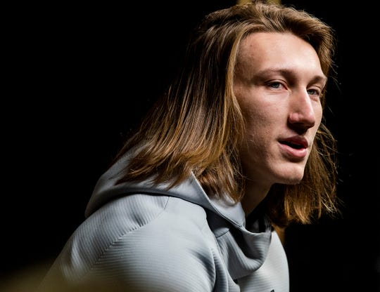 Clemson quarterback Trevor Lawrence (16) during the Clemson Media Day at the SAP Center in San Jose, Ca., on Saturday January 5, 2019.