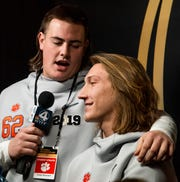 Clemson's Cade Stewart (62) interviews Clemson quarterback Trevor Lawrence during the Clemson Media Day at the SAP Center in San Jose, Ca., on Saturday January 5, 2019.