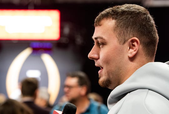 Alabama offensive lineman Ross Pierschbacher (71) during the Alabama Media Day at the SAP Center in San Jose, Ca., on Saturday January 5, 2019.
