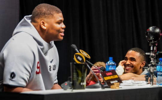Alabama quarterback Jalen Hurts (2), right, interviews Alabama defensive lineman Quinnen Williams (92) during the Alabama Media Day at the SAP Center in San Jose, Ca., on Saturday January 5, 2019.