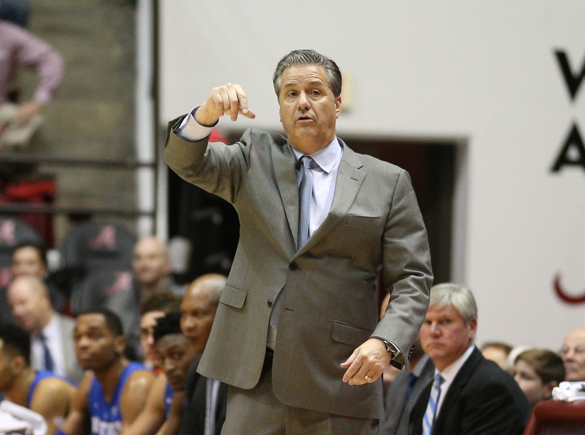 Jan 5, 2019; Tuscaloosa, AL, USA; Kentucky Wildcats head coach John Calipari during the first half against Alabama Crimson Tide at Coleman Coliseum. Mandatory Credit: Marvin Gentry-USA TODAY Sports