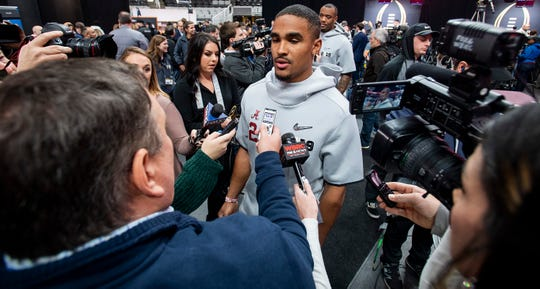 Alabama quarterback Jalen Hurts (2) during the Alabama Media Day at the SAP Center in San Jose, Ca., on Saturday January 5, 2019.