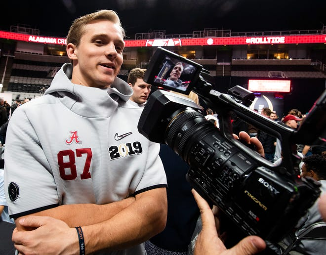 Alabama tight end Miller Forristall (87) during the Alabama Media Day at the SAP Center in San Jose, Ca., on Saturday January 5, 2019.