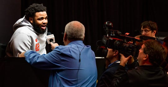 Clemson defender Christian Wilkins during the Clemson Media Day at the SAP Center in San Jose, Ca., on Saturday January 5, 2019.