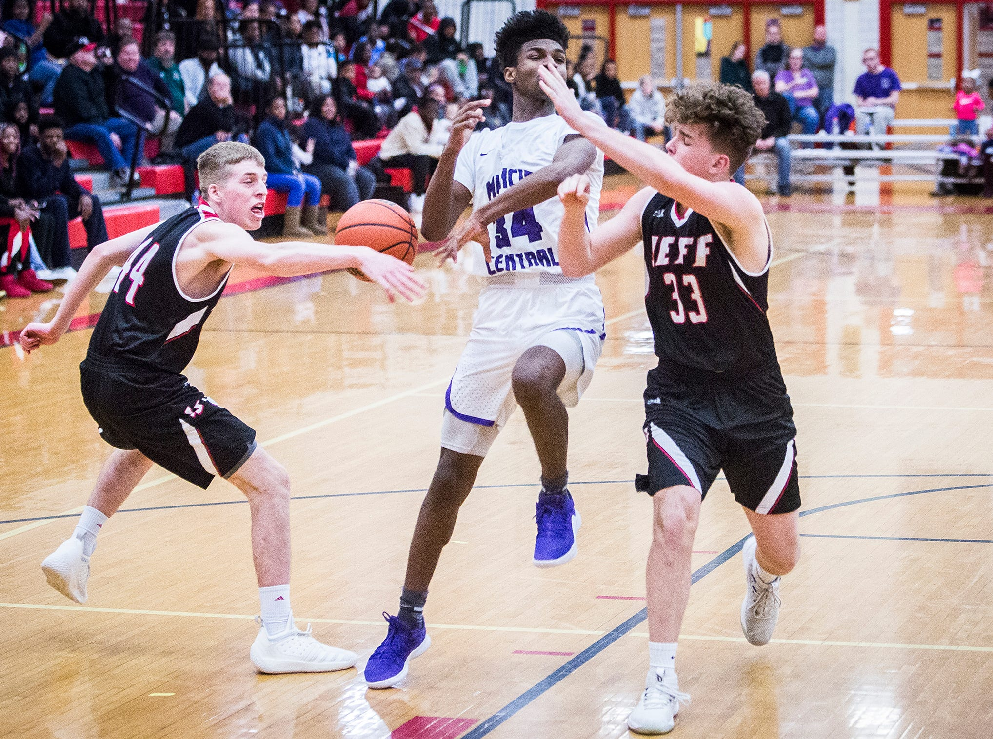 Central faces off against Lafayette Jefferson during their game at Southside Middle School Friday, Jan. 4, 2019.