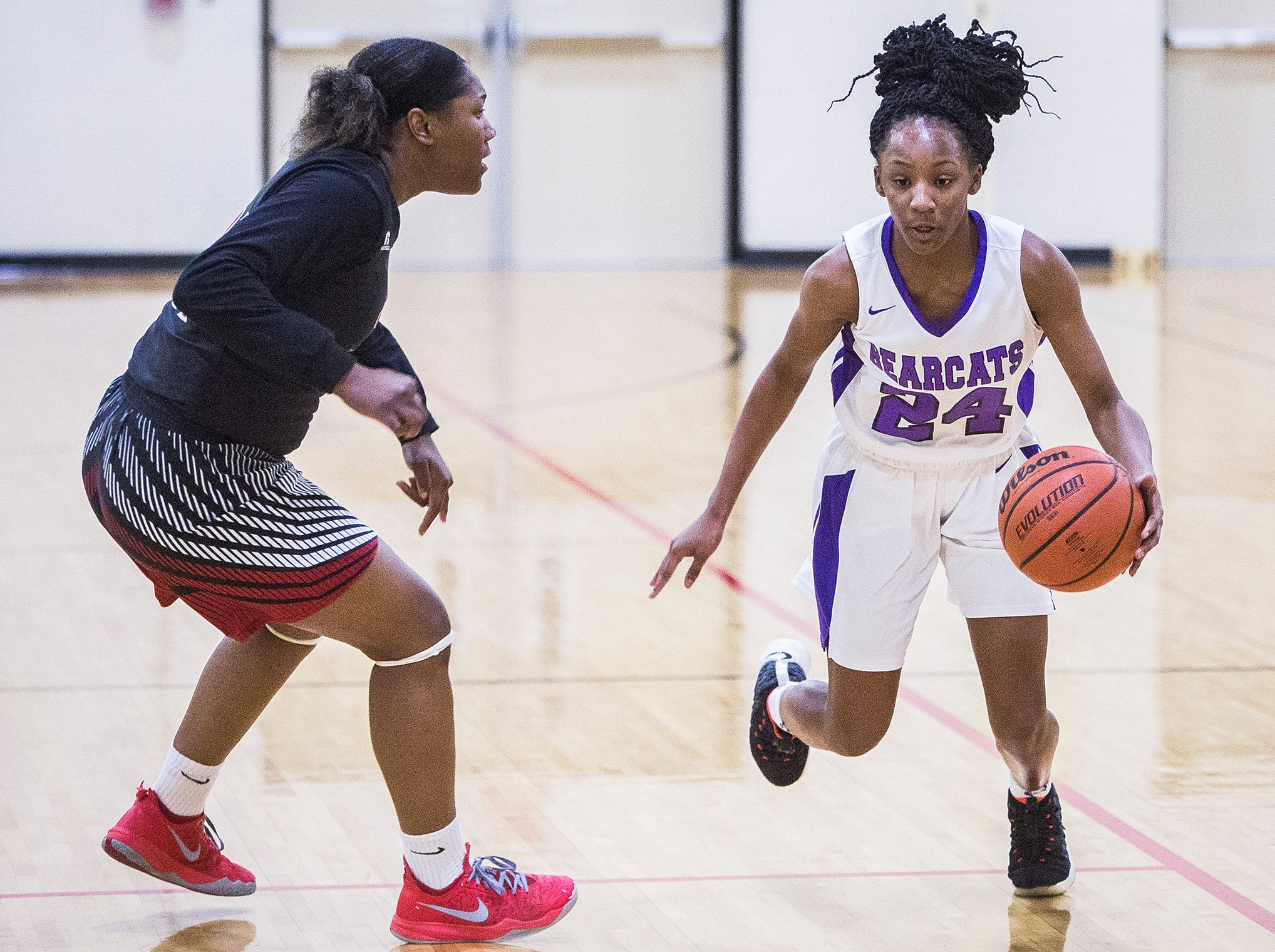 Central faces off against Lafayette Jefferson during their game at Central Friday, Jan. 4, 2019.