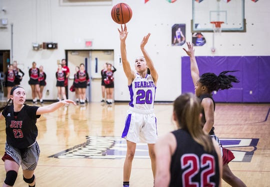 FILE -- Central's Sayla McIntosh shoots a jump shot against Lafayette Jeff during their game at Central Friday, Jan. 4, 2019.