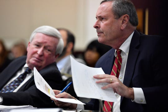 District Attorney Glenn Funk, right, and Deputy District Attorney Roger Moore listen during the second day of a preliminary hearing for Metro Nashville Police Department Officer Andrew Delke on Jan. 5.