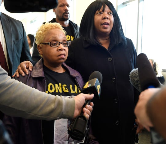 Vickie Hambrick, the mother of Daniel Hambrick, and her lawyer, Joy Kimbrough, speak to the media Jan. 5 at the Justice A.A. Birch Building. In a federal lawsuit, the Hambrick family has alleged racism in the Metro Nashville Police Department led to Daniel Hambrick's fatal shooting by an officer.