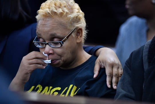 Vickie Hambrick, mother of Daniel Hambrick, cries during the second day of a preliminary hearing for Metro Police Officer Andrew Delke at the Justice A.A. Birch Building Saturday, Jan. 5, 2019, in Nashville, Tenn. Delke is charged with criminal homicide in the on-duty shooting of Daniel Hambrick.