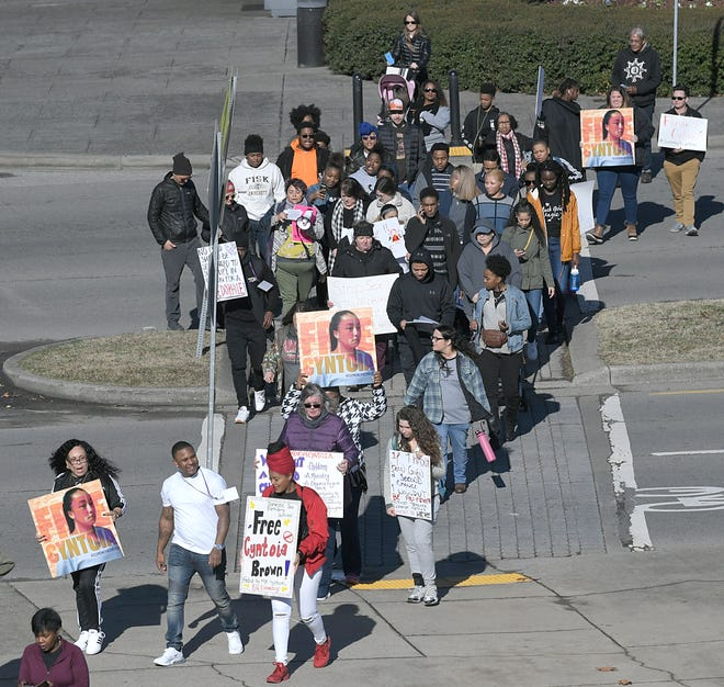 People march from Bicentennial Mall to Tennessee State Capitol on Saturday, Jan. 5, 2019 in support for clemency for Cyntoia Brown.