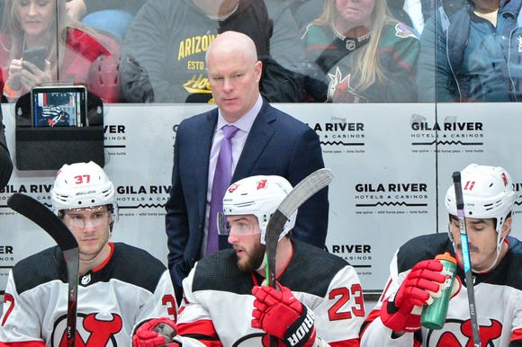 Jan 4, 2019; Glendale, AZ, USA; New Jersey Devils head coach John Hynes looks on during the first period against the Arizona Coyotes at Gila River Arena.