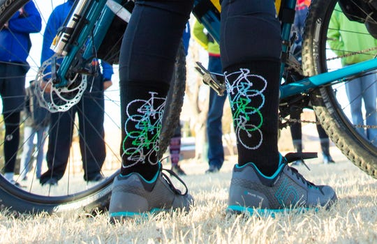 "Pictured are the socks of New Mexico State Representative Angelica Rubio as she prepares to takes off on bicycle from Las Cruces to Santa Fe on Saturday, Jan. 5, 2019, for the 2019 legislative session. Rubio will hold ""meet-and-greet"" vents along the way including Hatch, Truth or Consequences, San Antonio, Belen, and Albuquerque."