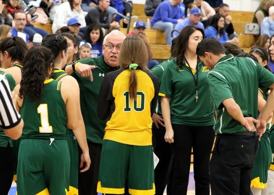 Mayfield coach George Maya emphatically talks to his team during a timeout in Friday's game against Carlsbad.
