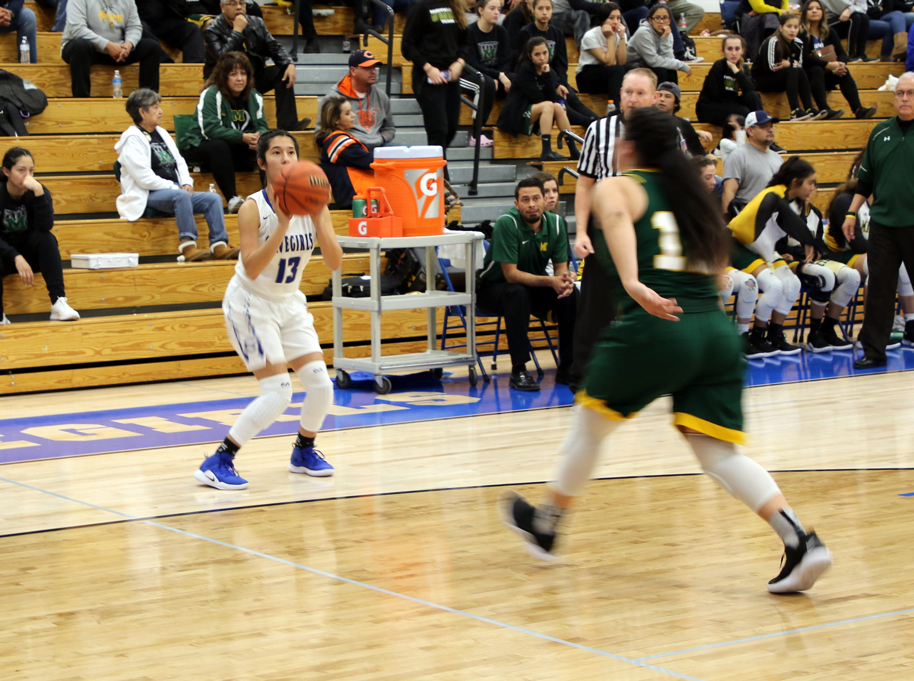 Tori Flores readies a three-point shot in the first half of Friday's game against Mayfield.