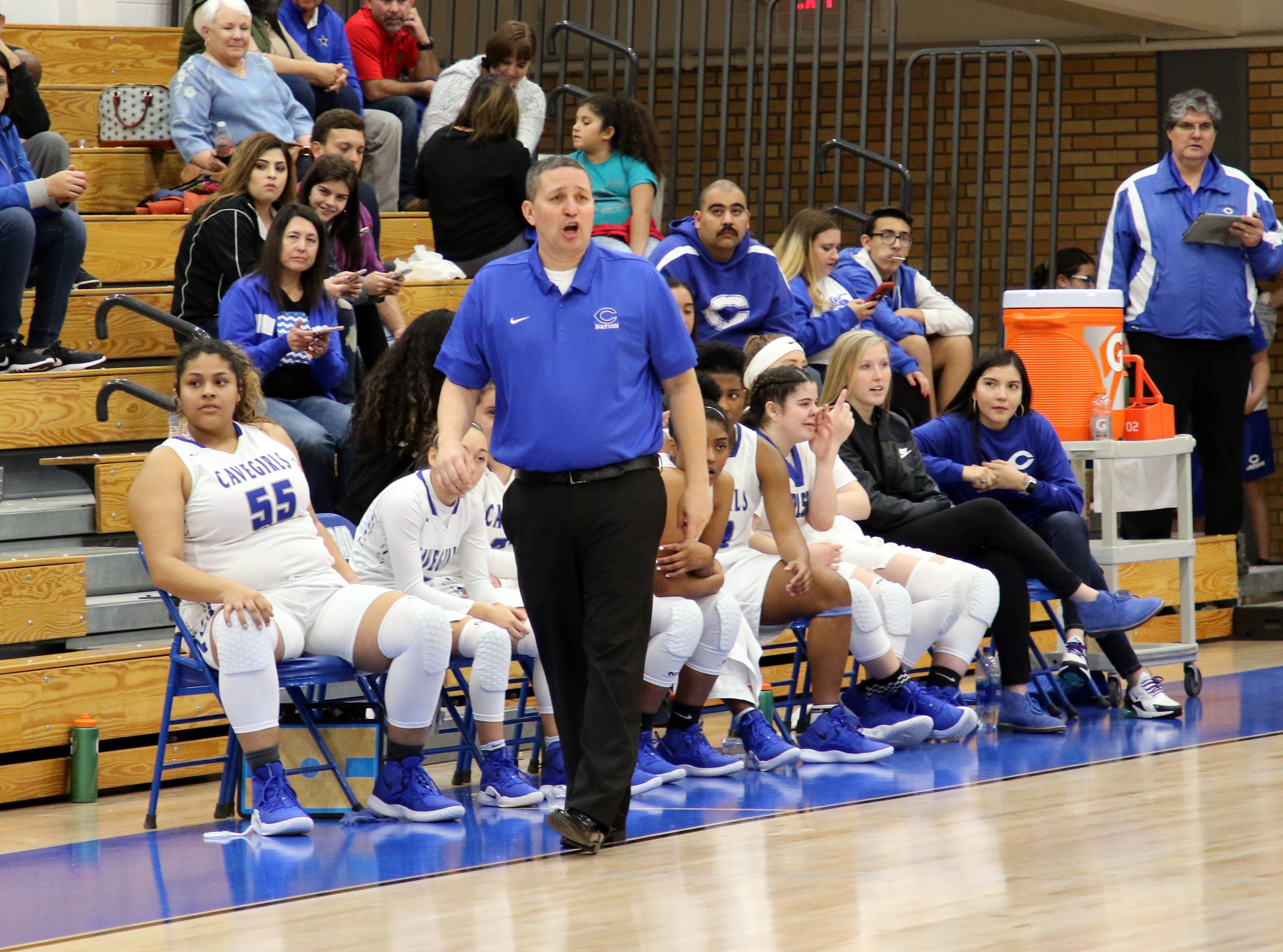 Carlsbad coach John Zumbrun yells out instructions during the first half of Friday's game against Mayfield.