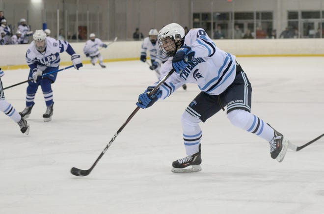 Stevenson forward Seth Lause (10) scored three shorthanded goals in a win this month over Hartland.