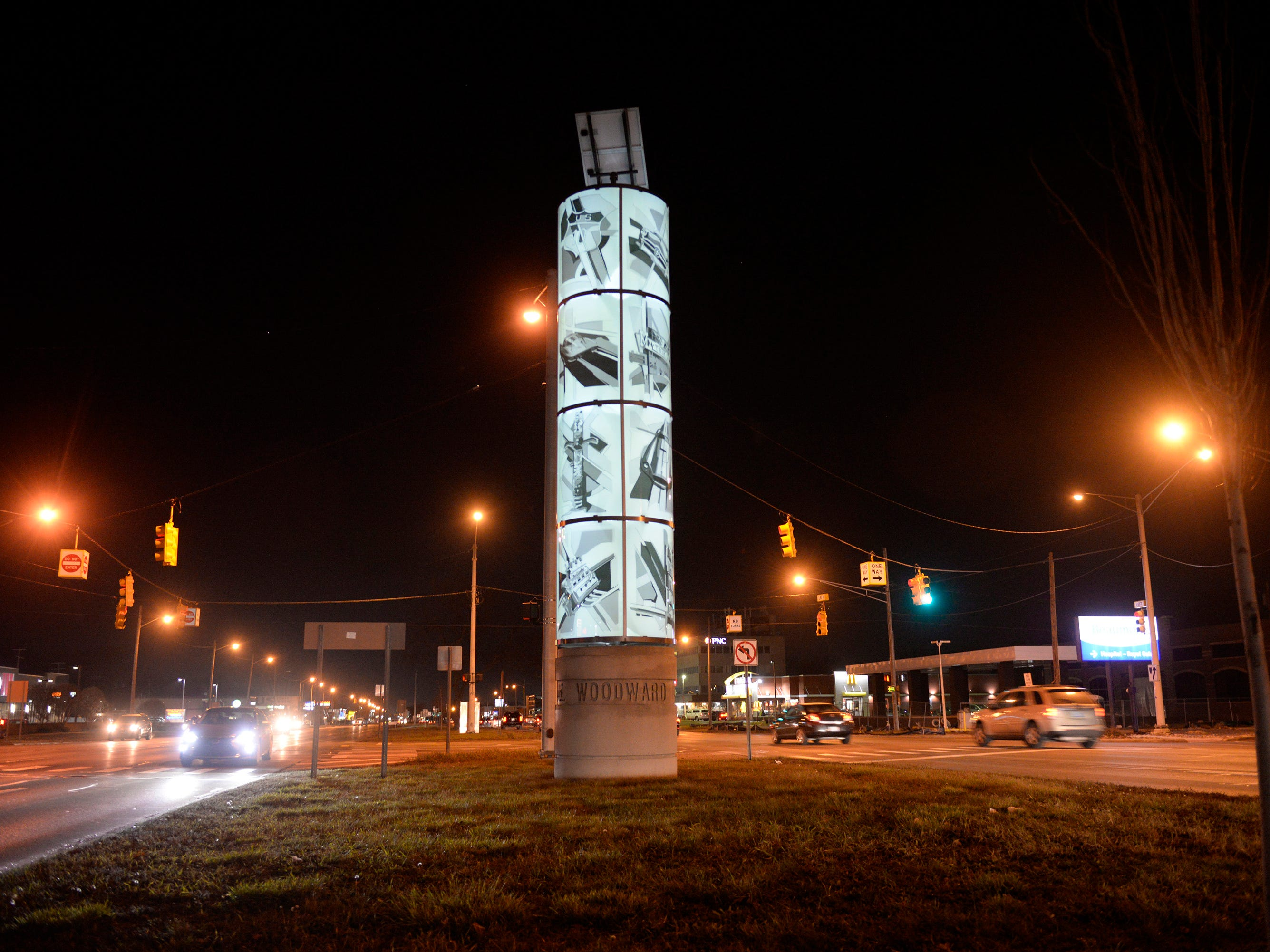 One of four Woodward Tribute statues in the median at Woodward and 13 Mile. The sculptures installed by Wooward Avenue Action Association help promote the corridor's history and culture.