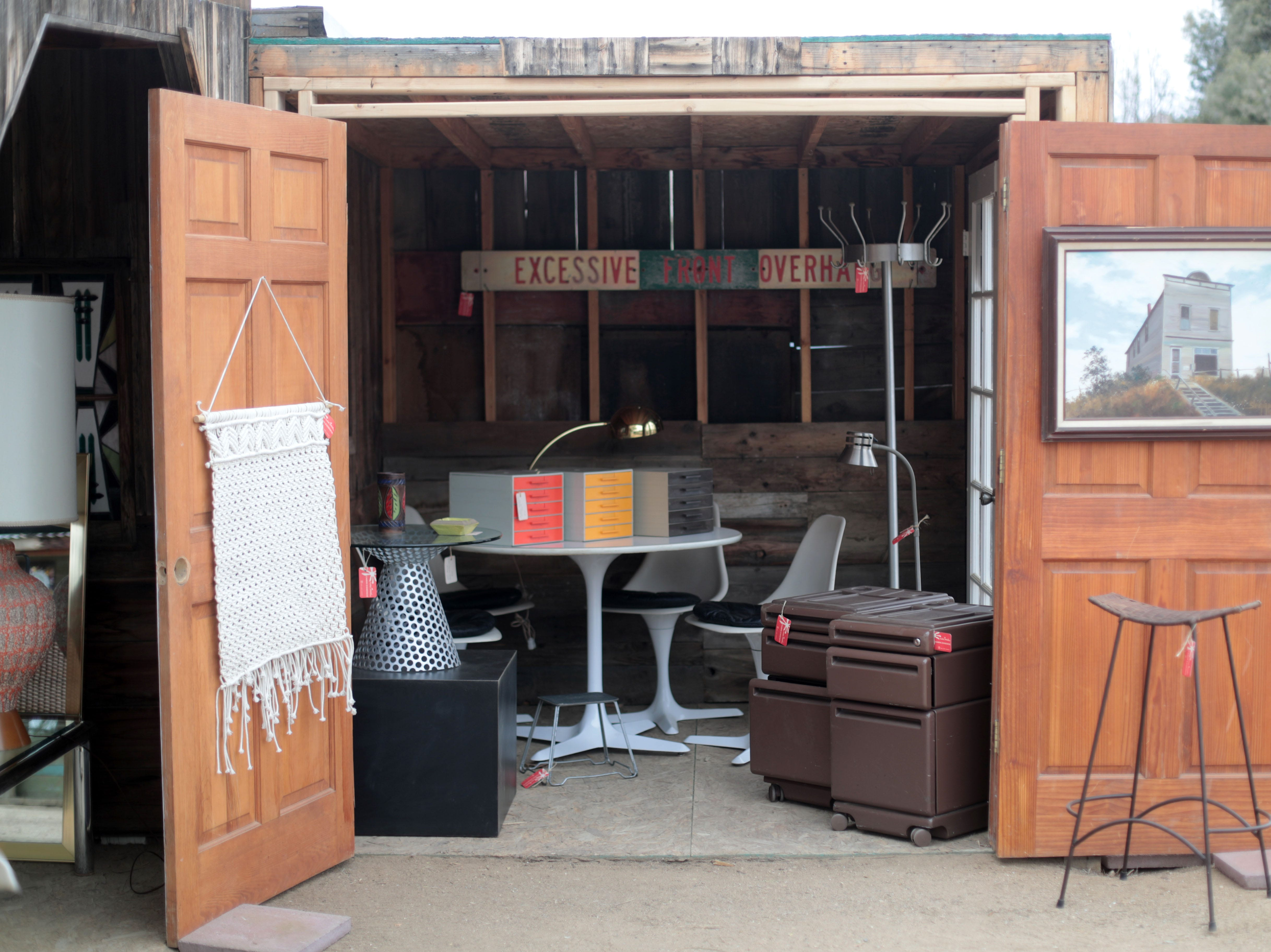 Cabin Essence sells mid-century modern furniture out of a wild west shack at the Sky Village Swap Meet in Yucca Valley on Saturday, January 5, 2019.