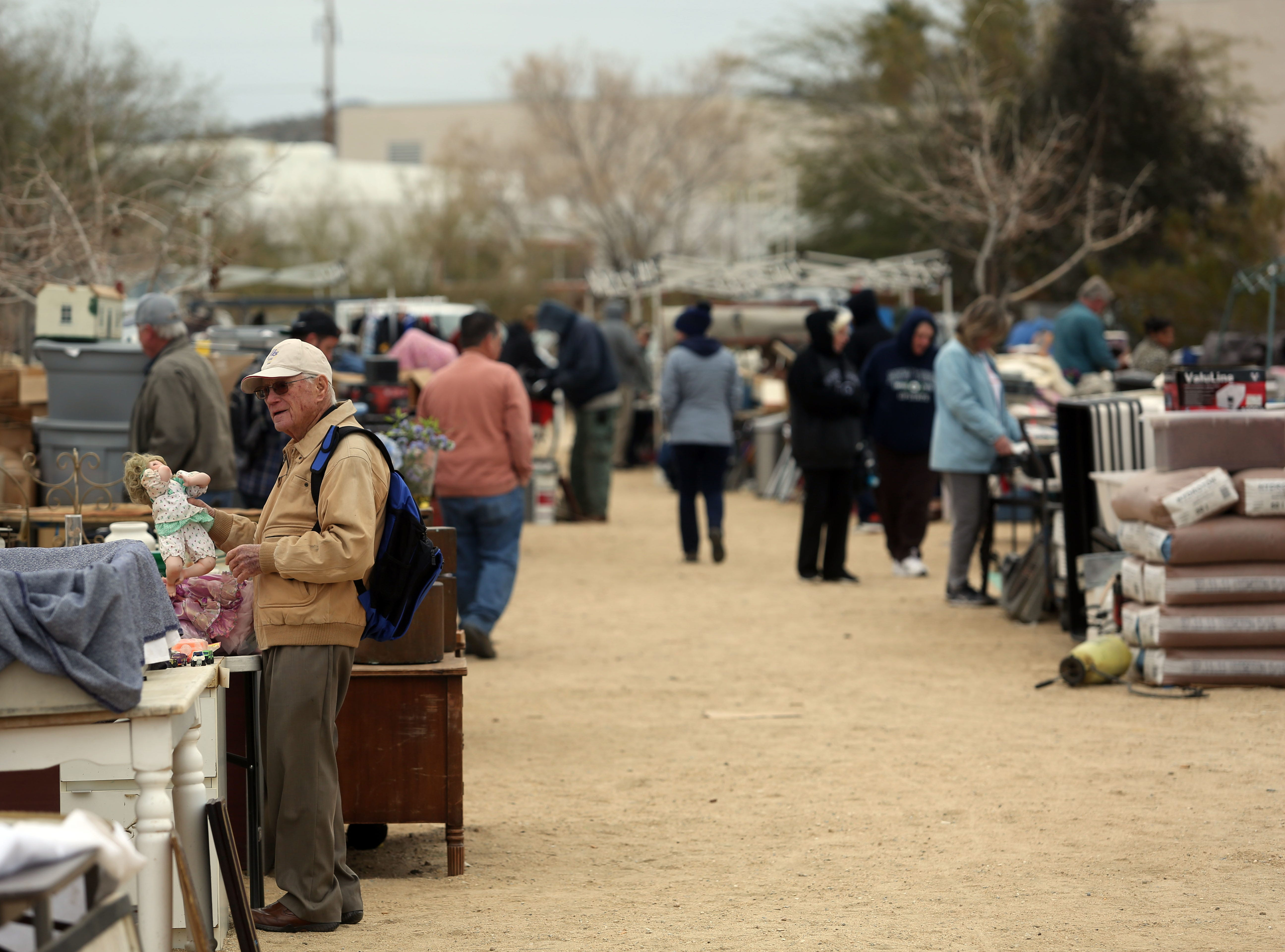 Visitors and venders at the Sky Village Swap Meet in Yucca Valley on Saturday, January 5, 2019.