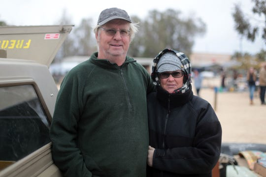Husband and wife Wayne and Lisa Martin, of Yucca Valley, are regular sellers at the Sky Village Swap Meet in Yucca Valley. Photo taken on Saturday, January 5, 2019.