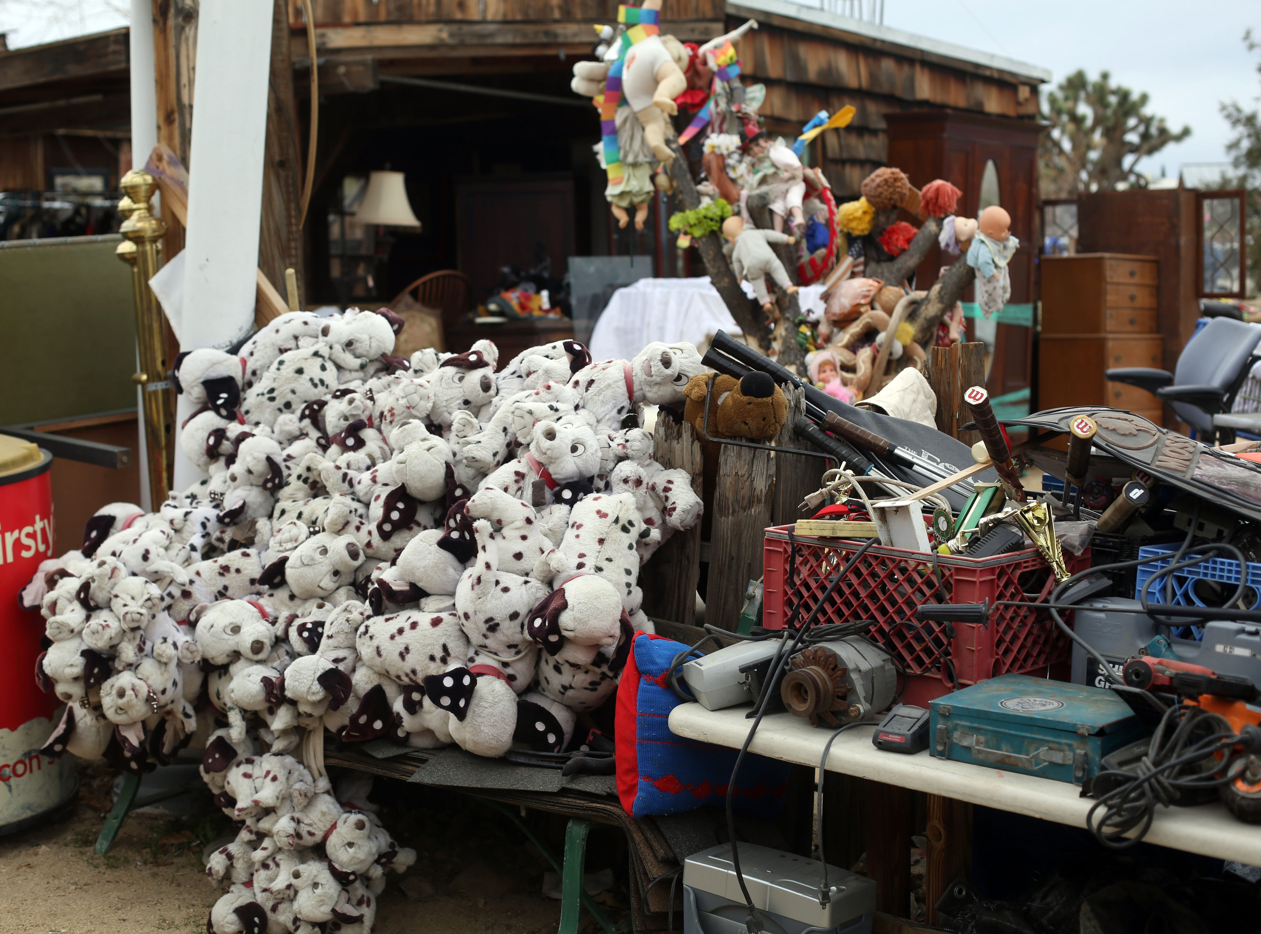 A bundle of dalmatian toys at the Sky Village Swap Meet in Yucca Valley on Saturday, January 5, 2019.