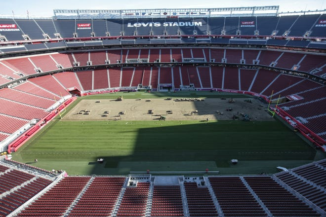 Turf for a brand new playing surface at Levi's Stadium in Santa Clara was grown by Palm Desert-based West Coast Turf at a farm in Livermore,
