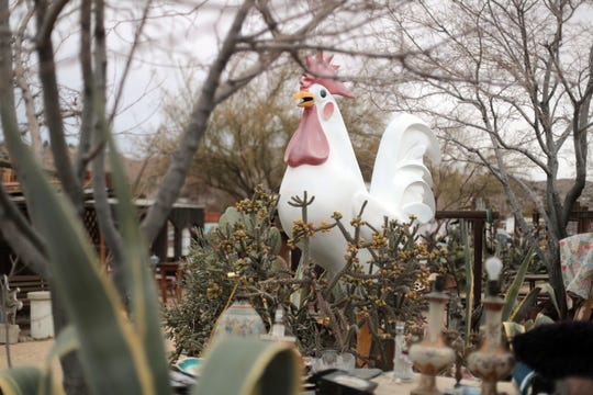 An large rooster sculpture acts as a landmark at the Sky Village Swap Meet in Yucca Valley. Photo taken on January 5, 2019.