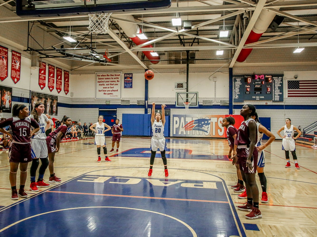 Pace's Shay Crooks (20) goes for a free throw during the game against PHS at Pace High School on Friday, January 4, 2019.