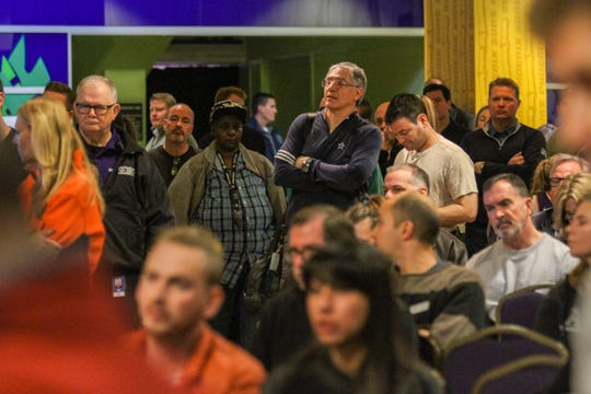 Members of the public listin during a public hearing to discuss the pending renovation cost for Talking Stick Resort Arena in Phoenix, Arizona on Saturday, Jan. 5, 2018.