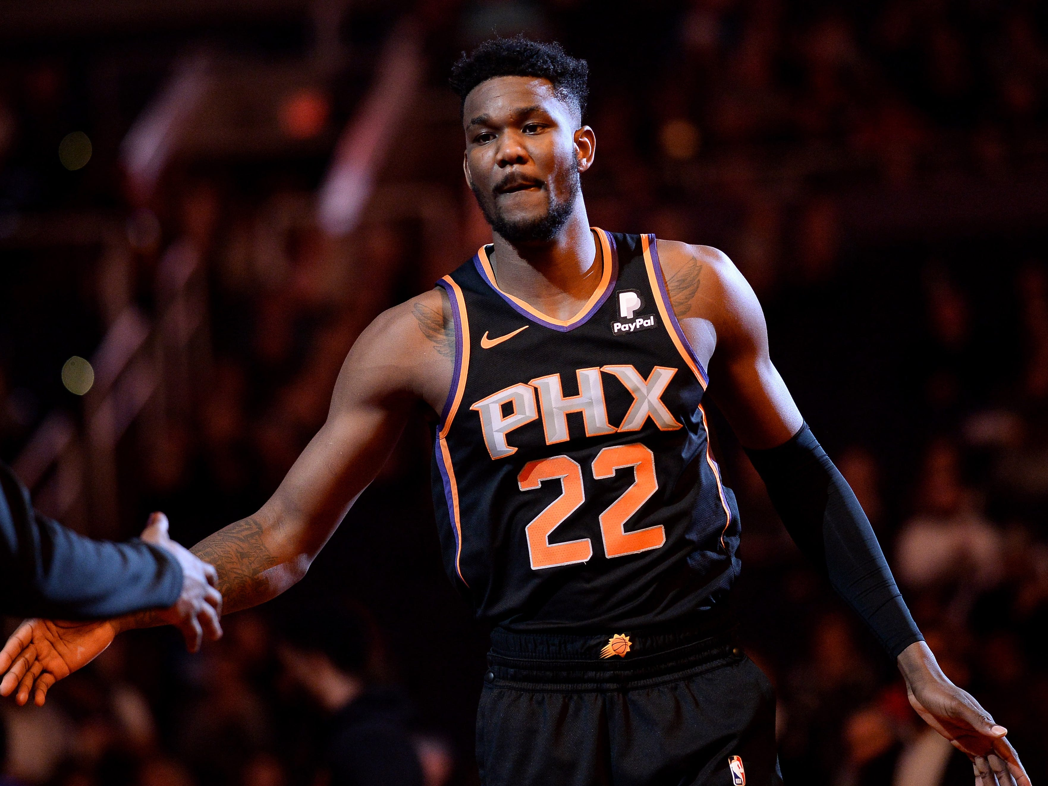 Jan 4, 2019; Phoenix, AZ, USA; Phoenix Suns center Deandre Ayton (22) is announced for the game against the LA Clippers at Talking Stick Resort Arena. Mandatory Credit: Jennifer Stewart-USA TODAY Sports