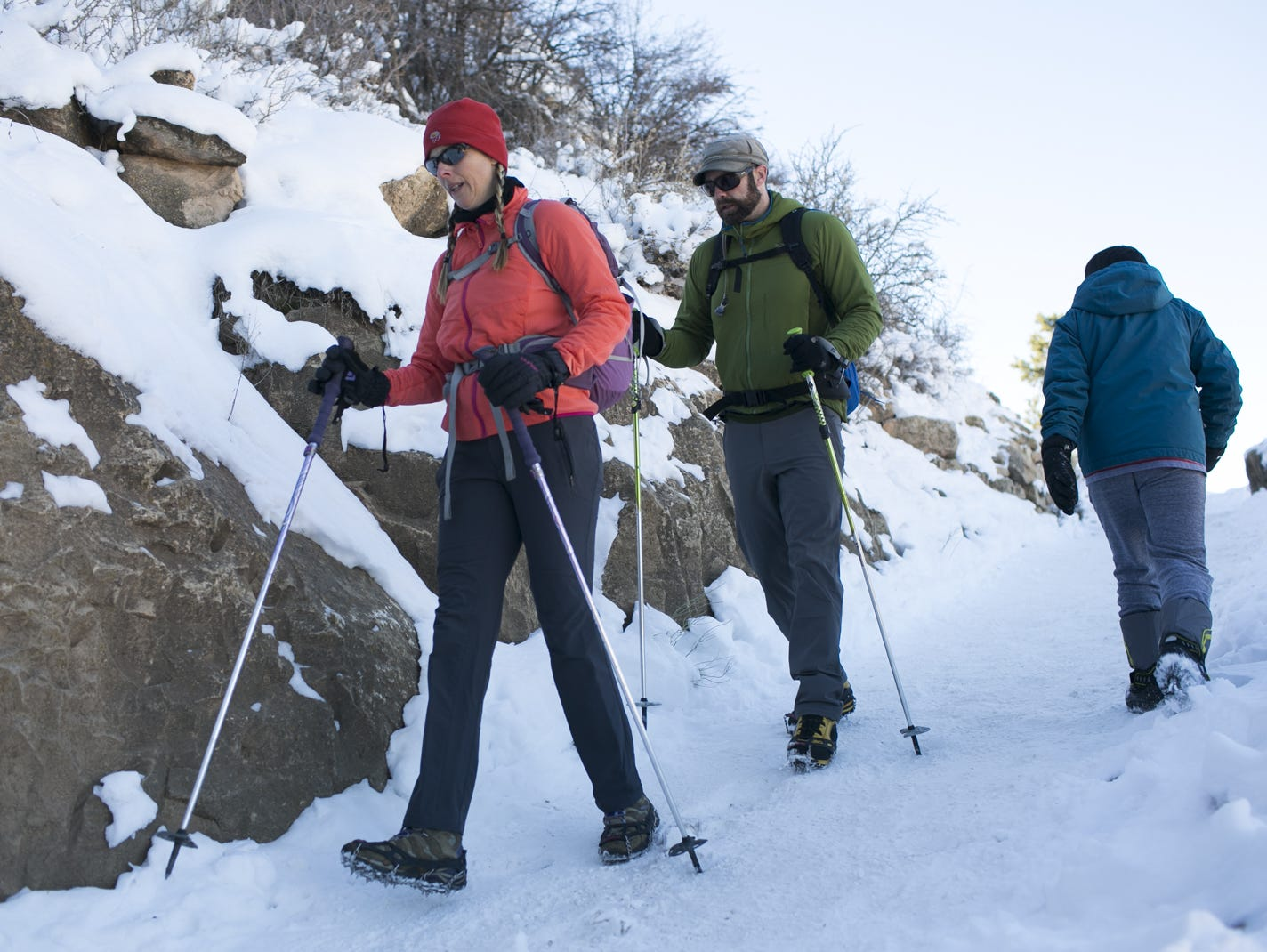 Hikers enjoy the winter weather at Grand Canyon National Park on Jan. 4, 2019. The park was staffed at minimum capacity due to the government shutdown but retained much of its services due to an executive order issued by Arizona Gov. Doug Ducey to run the park with state funds in the event of a shutdown.