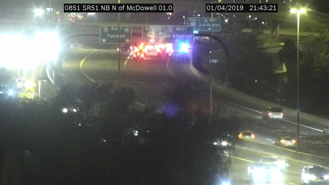 """Traffic backed up near the """"Mini Stack"""" in Phoenix after westbound I-10 was shut to traffic after a pedestrian was struck."""
