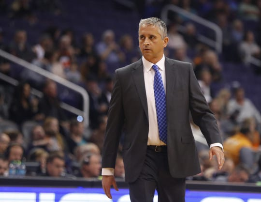 Suns' head coach Igor Kokoskov walks back to a timeout during the first half against the Clippers at Talking Stick Resort Arena in Phoenix, Ariz. on January 4, 2019.