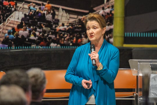Christine Mackay, the director of Community and Economic Development for the City of Phoenix, speaks during a public hearing to discuss the pending renovation cost for Talking Stick Resort Arena in Phoenix, Arizona on Saturday, Jan. 5, 2018.