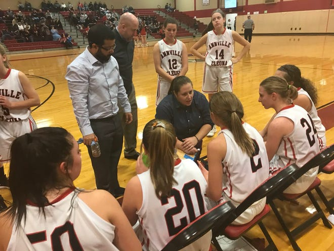Annville-Cleona head coach Lisa Shucker talks to her team during a timeout in a game against Lebanon Catholic last season.