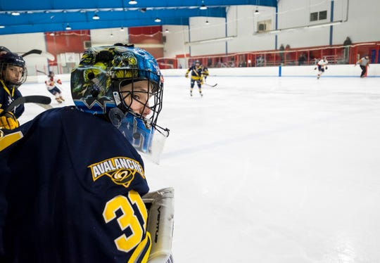 North Jersey Avalanche goalie Christian Green watches from the team box during their BAAA-E Silver Stick Finals match against Sun County Panthers Saturday, Jan. 5, 2019 at Glacier Pointe Ice Complex.