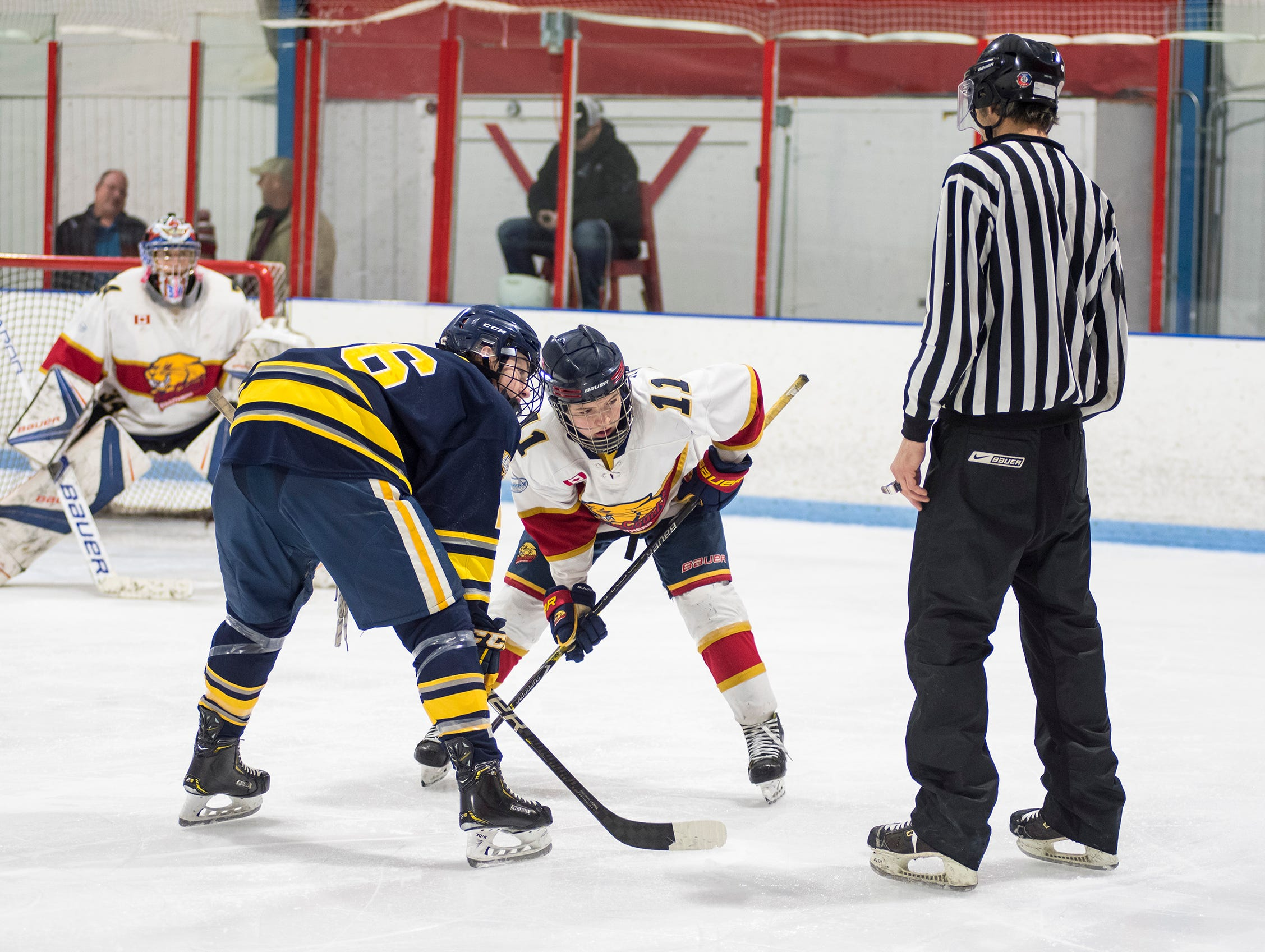 Sun County Panthers forward Luke Sherk (11) and North Jersey Avalanche forward Ryan Schelling face off during their BAAA-E Silver Stick Finals match Saturday, Jan. 5, 2019 at Glacier Pointe Ice Complex.