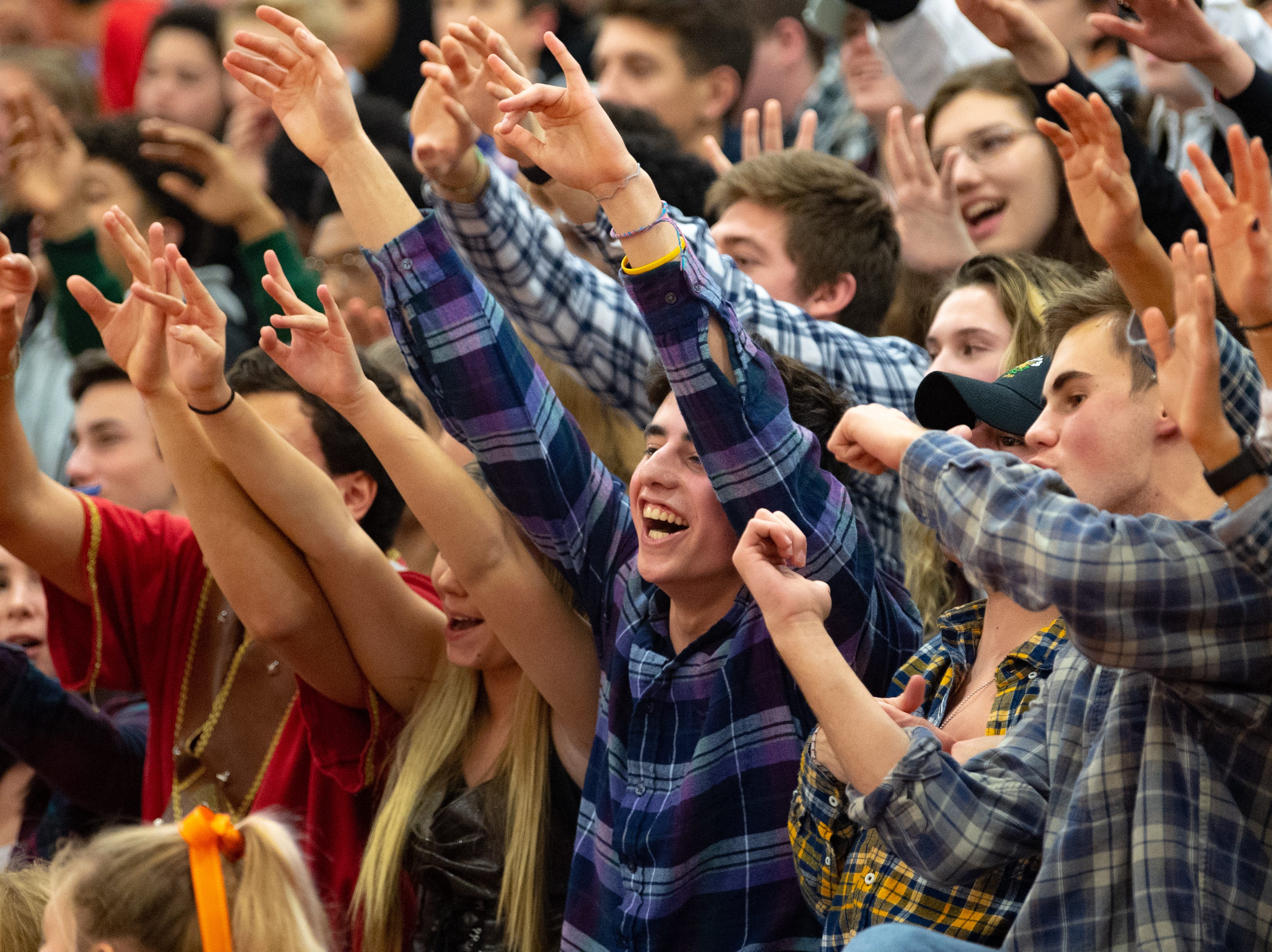 York Suburban's student section is loud and proud during the boys' basketball game between York Suburban and Kennard-Dale at York Suburban High School on January, 4, 2019. The Rams beat the Trojans 65 to 63 in overtime.