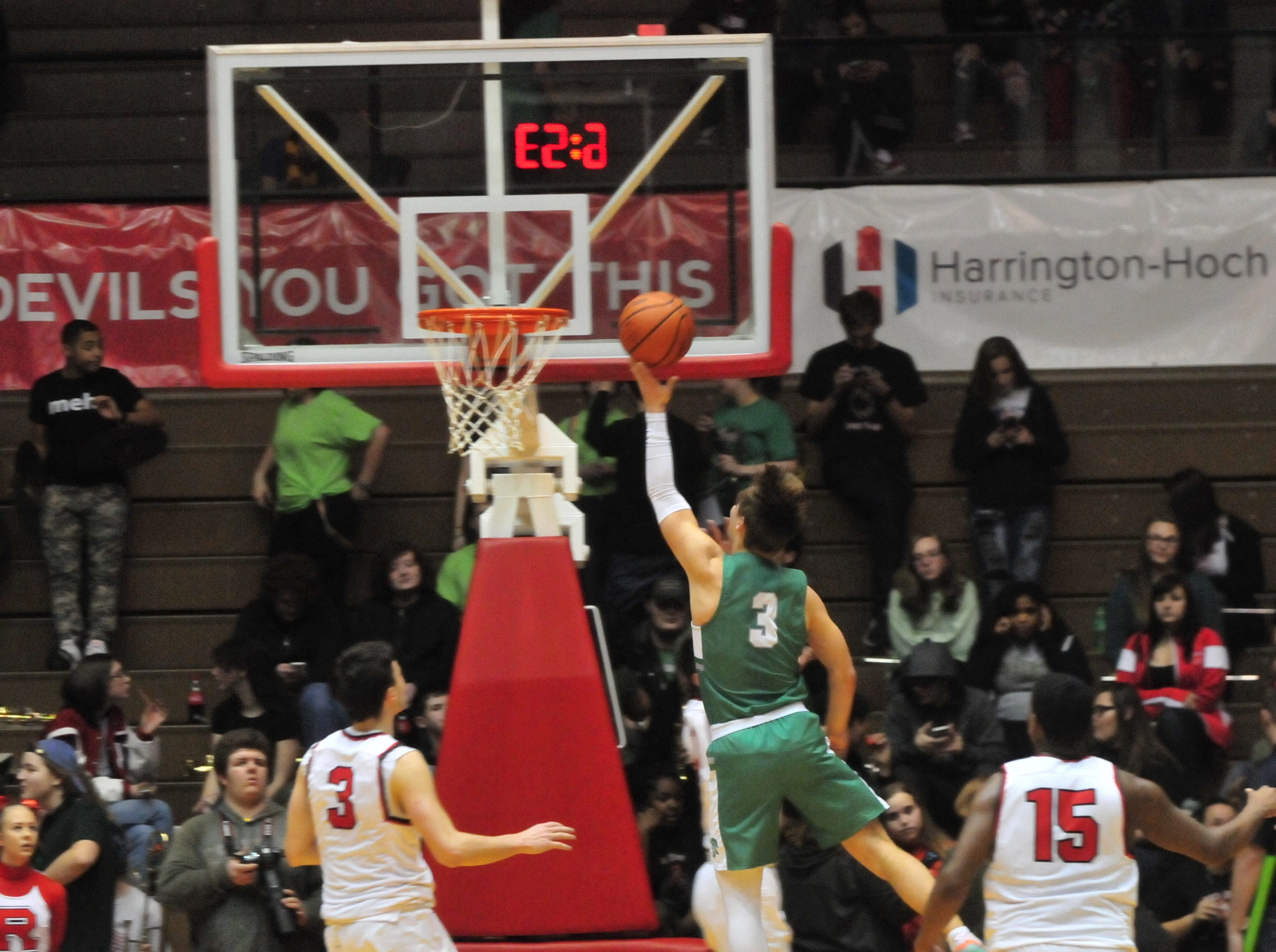 New Castle's Luke Bumbalough (3) goes for a layup during a boys basketball game against Richmond at Tiernan Center Friday, Jan. 4, 2019.