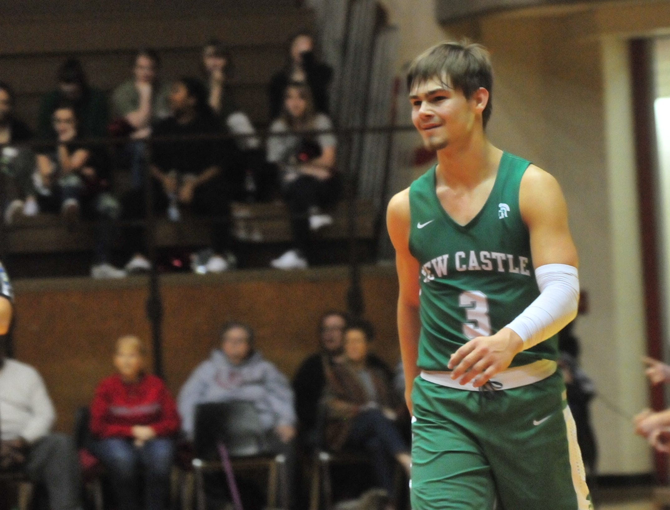 New Castle senior Luke Bumbalough (3) during a boys basketball game against Richmond at Tiernan Center Friday, Jan. 4, 2019.