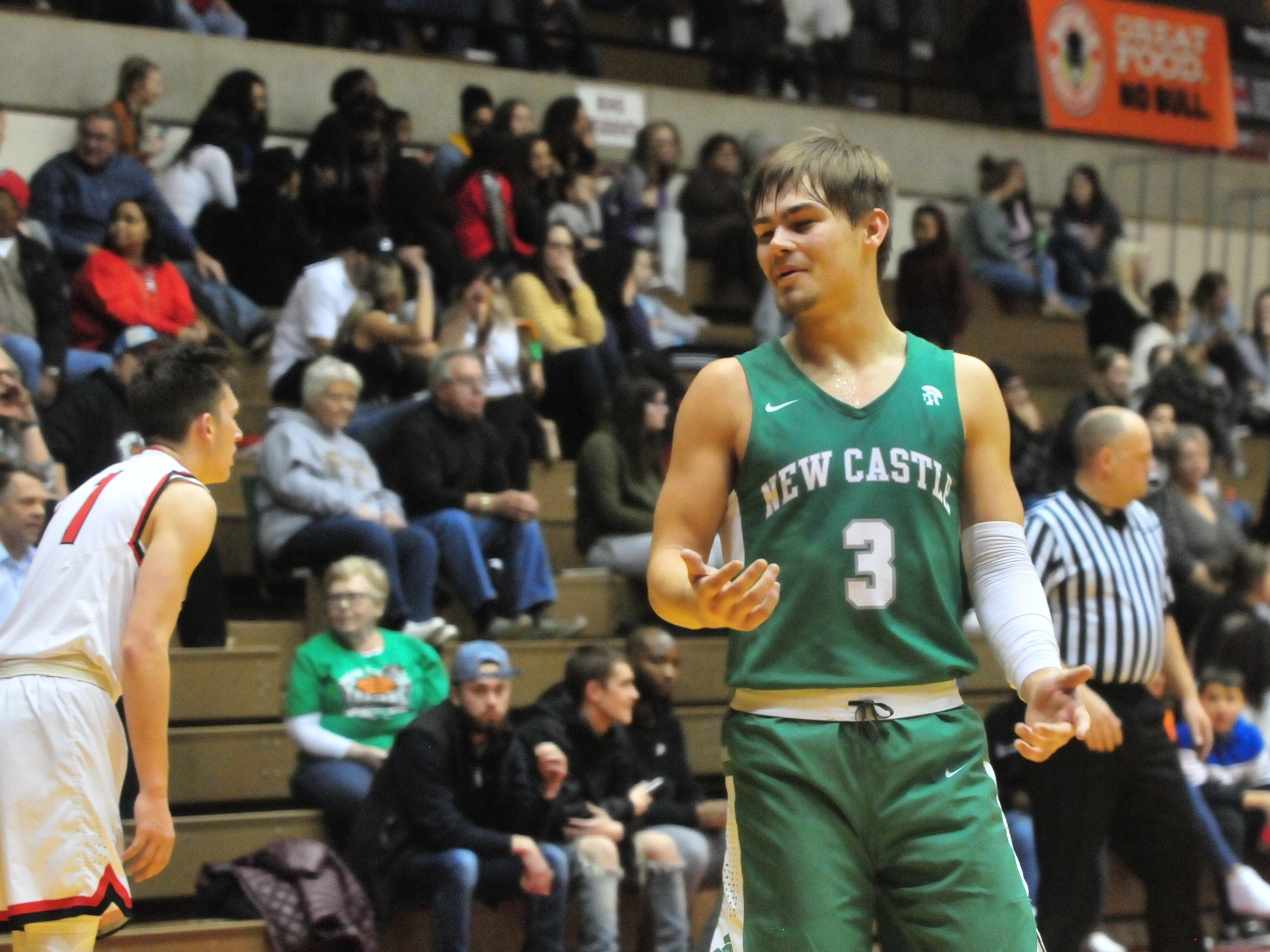 New Castle's Luke Bumbalough (3) during a boys basketball game against Richmond at Tiernan Center Friday, Jan. 4, 2019.