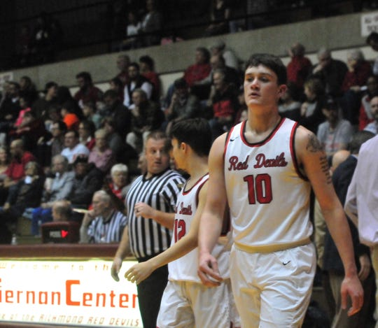 Richmond High School boys basketball senior Lucas Kroft during a game against New Castle at home in early January.